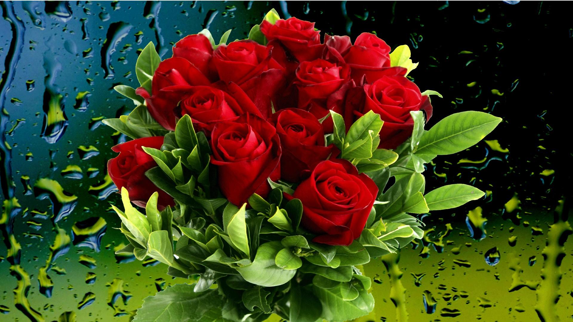 Букеты цветов в росе фото