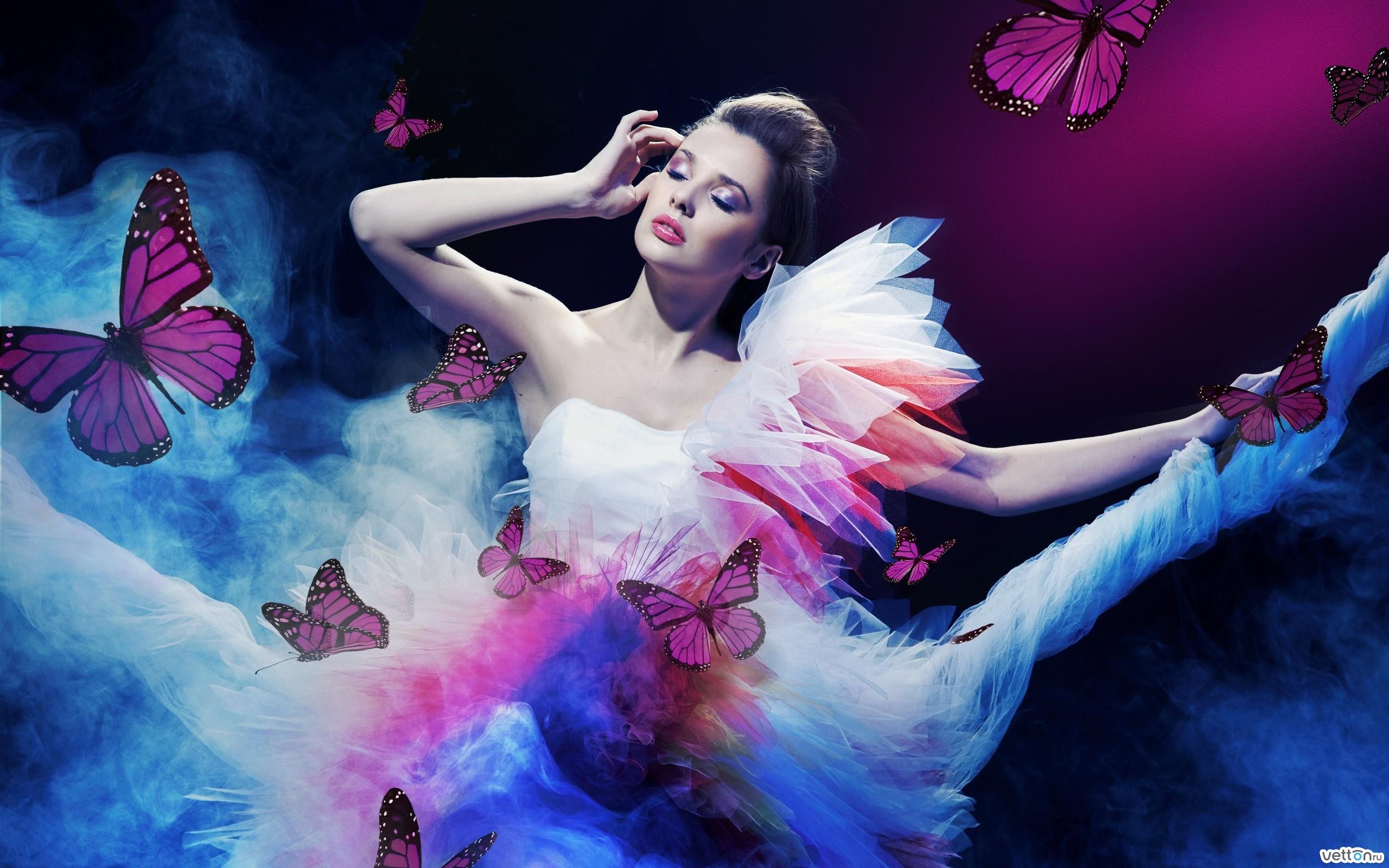 4 фото 1 слово девушка с бабочкой